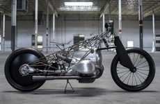 Skeletal Vintage Engine Motorcycles