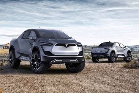 Futuristic Eco Pickup Trucks - This Conceptual Tesla Model P Pickup Truck Has a Stylish Aesthetic