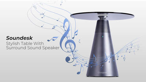 Speaker-Integrated Tables - Coolgeek's Soundesk is a Modern Table with 360-Degree Surround Sound