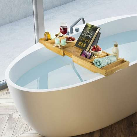 Stylish Bamboo Bathtub Caddies