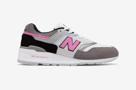 Pink-Detailed Pig Suede Sneakers