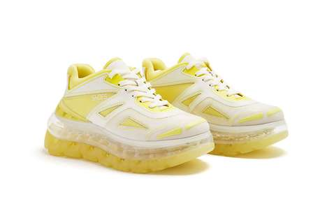 Futuristic Chunky Vegan Sneakers - The Shoes 53045 Bump'Air Spotlight a Bold & Chic Yellow Colorway