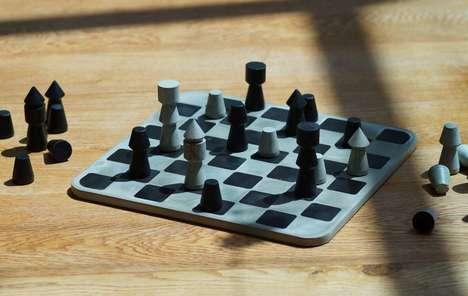 Brutalist Concrete Chess Sets