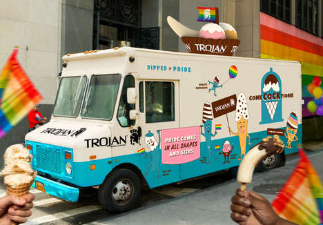 Risqué Ice Cream Trucks - Trojan's 'Conecocktions' Summer Ice Cream Truck Celebrates Pride