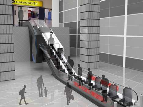 Security-Integrated Airport Escalators