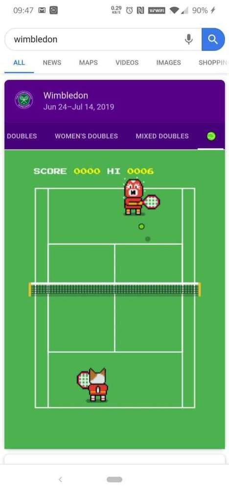 Search Engine Tennis Games