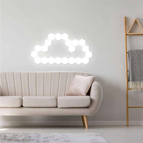 Customized Illumination Wall Lights - The SONADY Hexagonal Wall Lights are Touch-Sensitive