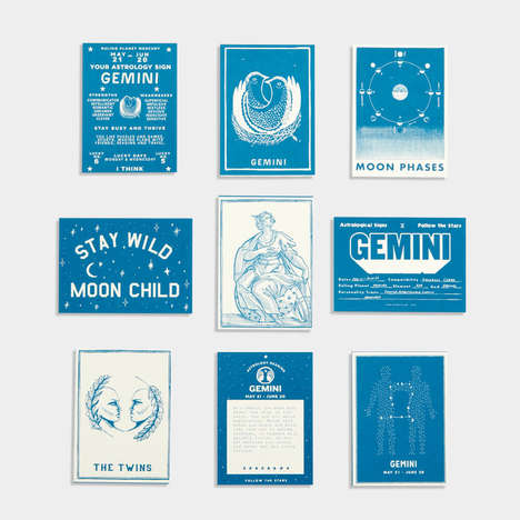 Vintage-Themed Astrology Cards