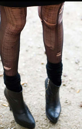 Shredded Leggings - Tattered Tights Turn Ruined Hosiery Into High Fashion Accessories