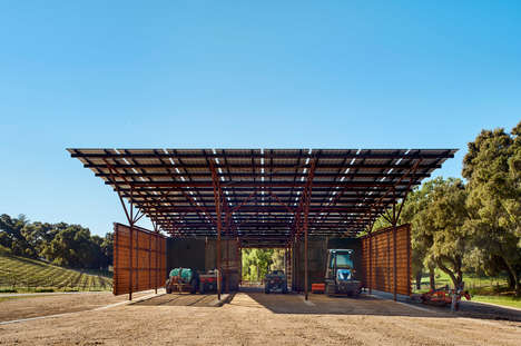 Minimalist Weathering Steel Barns