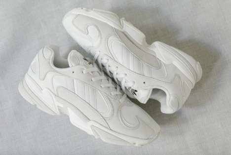White Mixed-Material Sneakers