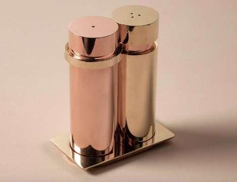 Stylized Metal Salt Shakers