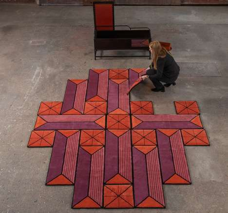 Geometric Shapeshifting Floor Rugs