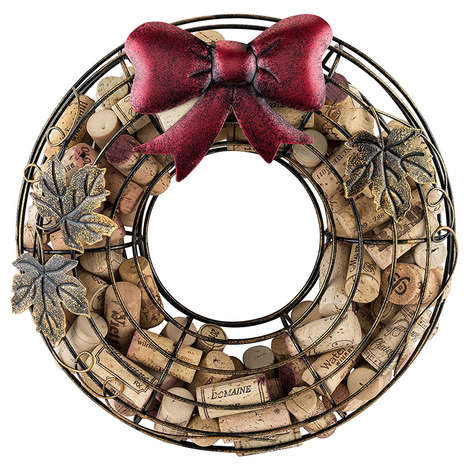 Cork-Filled Holiday Wreaths