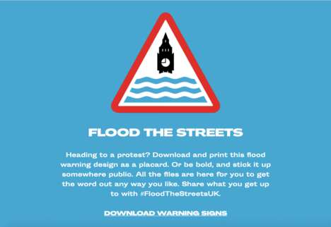 Flood Warning Protest Signage