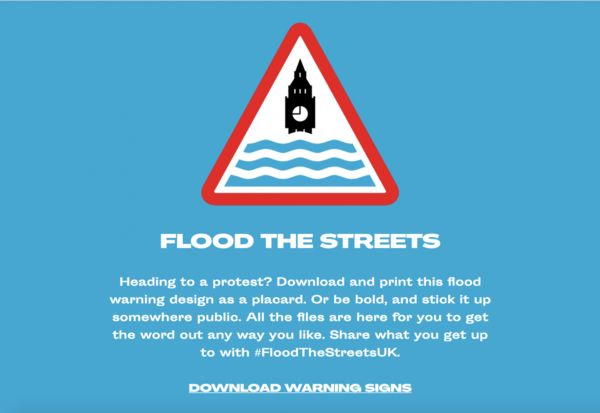 Flood Warning Protest Signage