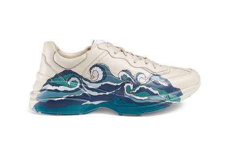 Wave-Graphic Luxe Sneakers