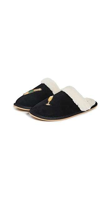 Luxe Champagne-Themed Slippers