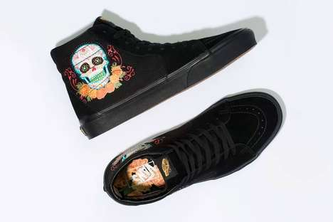 Floral Skull-Graphic Sneakers