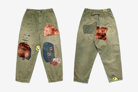 Patchwork-Centric Highwaist Pants