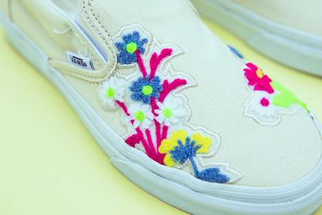Floral-Embroidered Laceless Shoes