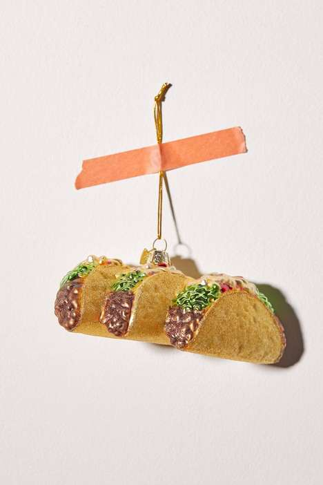 Glittery Taco Christmas Ornaments