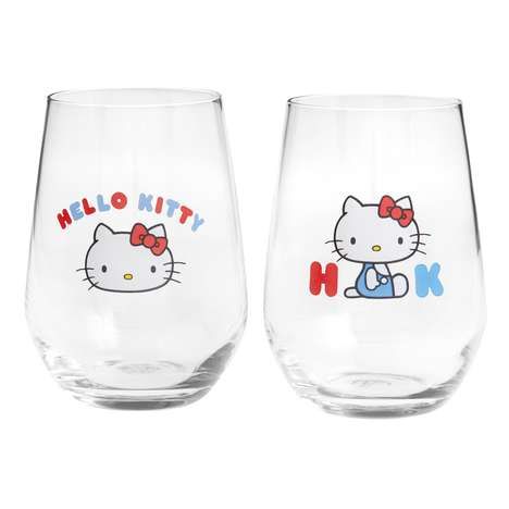 Cartoon Kitty Wine Glasses