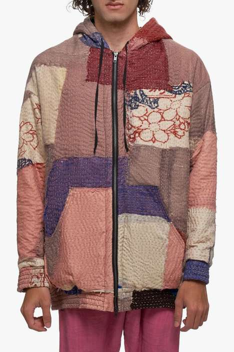 Patchwork-Heavy Zippered Sweaters