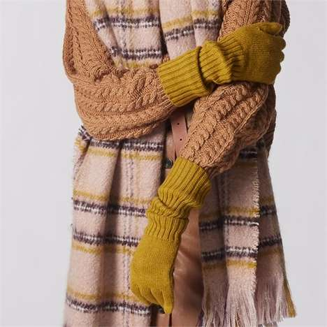 Extended Rib-Knit Cuff Gloves
