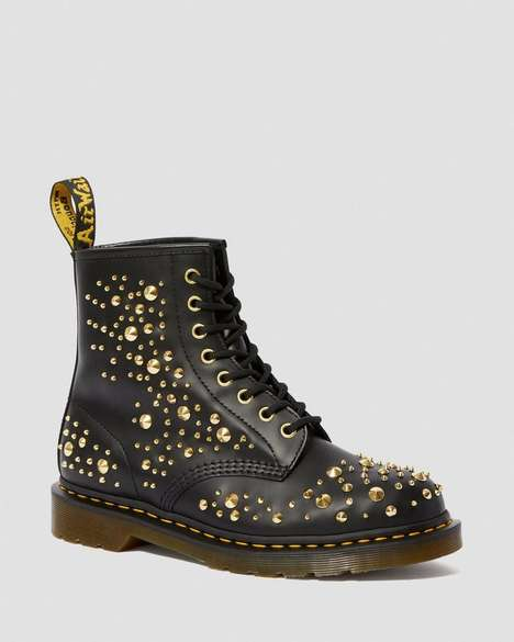 Golden Studded Boots