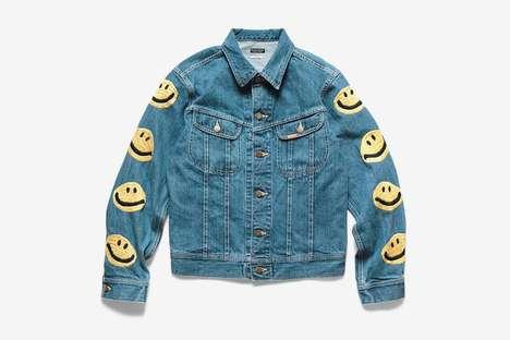 Smiley-Adorned Western Denim Jackets