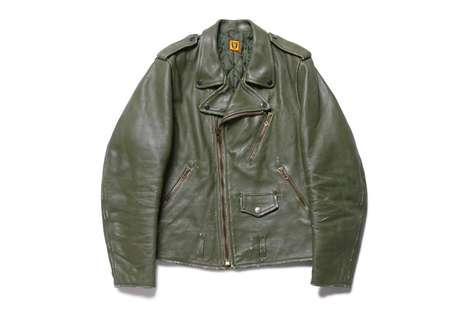 MIlitaristic Green Leather Jackets