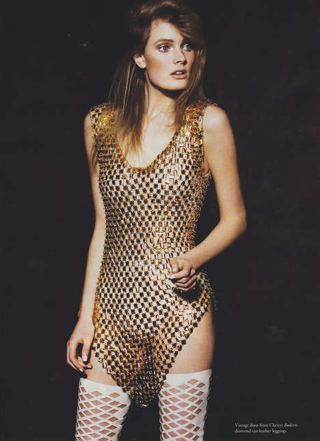 Golden Bodysuits - Constance Jablonski Rocks the Rockette Editorial for Russh Magazine