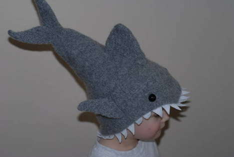 Head-Eating Caps - Low Budget Knit Shark Attack Hat for Aggression-Loving Kids