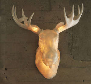 Illuminated Faux Taxidermy - Wall Mounted Moose Lamp is a Wild Way to Light Up Your Home