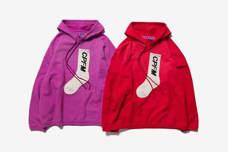 Sock-Adorned Bright Hoodies