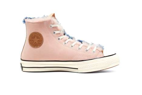 Split-Tonal Sherling Sneakers - Converse Lines the Color-Split Chuck 70 Hi Shoes wit Shearling