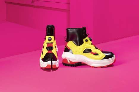 Bright Split-Toe Heeled Sneakers