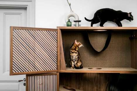 Cat-Friendly Wooden Cabinets
