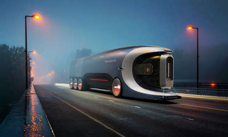 Futuristic One-Piece Shipping Trucks