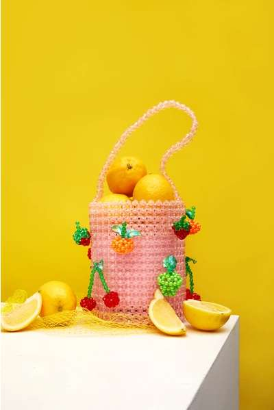 Fruit-Adorned Beaded Bags