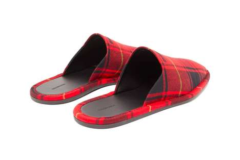 Square-Toed Tartan Slippers