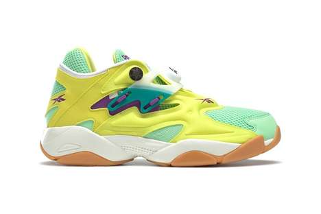 Neon-Accented Bulky Sneakers