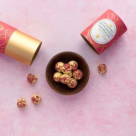 Raspberry Champagne Truffles