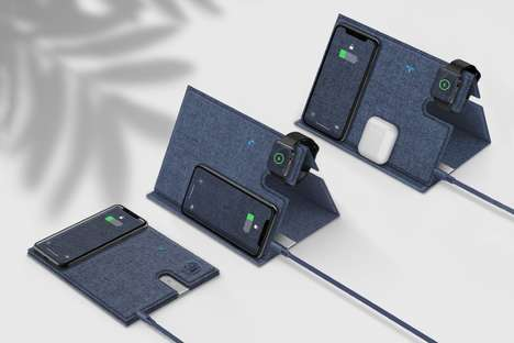 Foldable Wireless Triple-Device Chargers