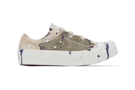 Paint-Splattered Platform Sneakers