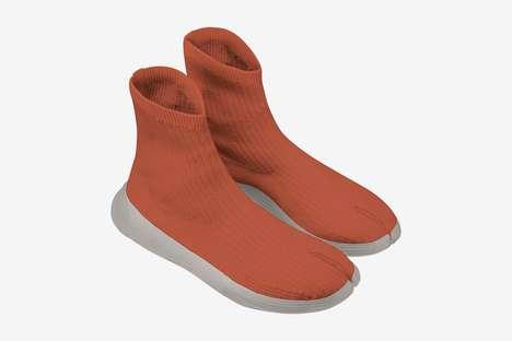 Monochromatic 3D-Knitted Vegan Sneakers