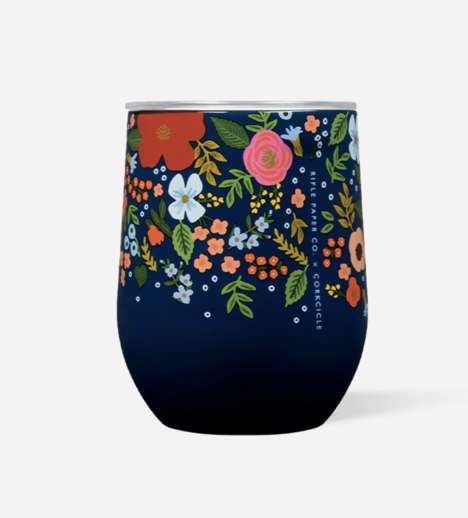Flowery Stemless Wine Cups