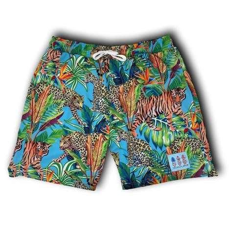 Tropical Tiger-Themed Swimwear