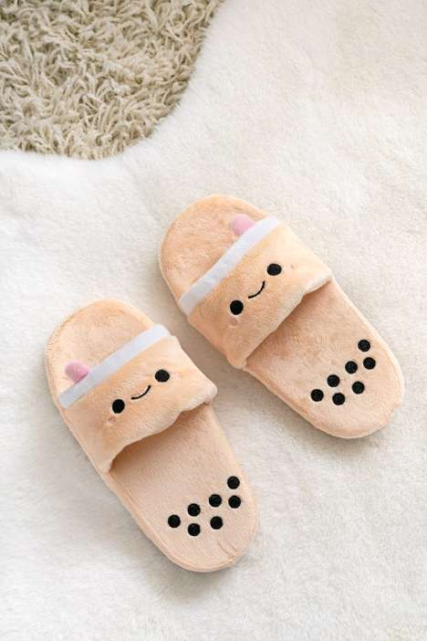 Plush Bubble Tea Slippers